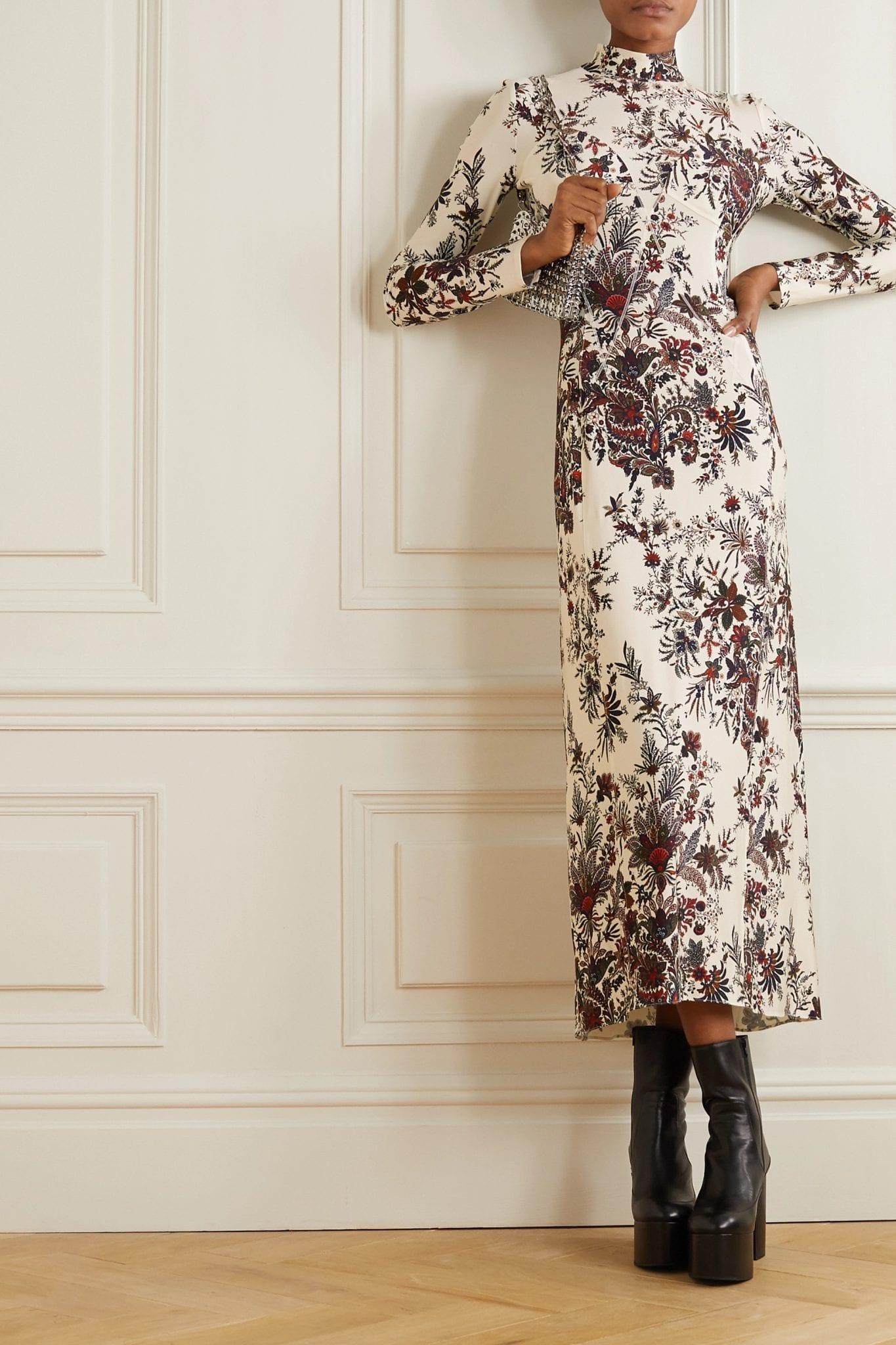 PACO RABANNE Paisley-print Stretch-jersey Turtleneck Midi Dress