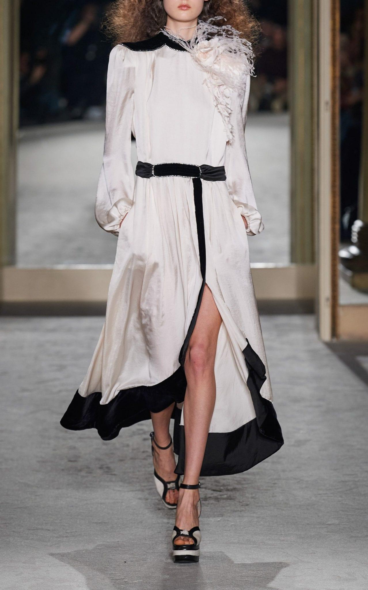 PHILOSOPHY DI LORENZO SERAFINI Embellished Two-Tone Satin Maxi Dress