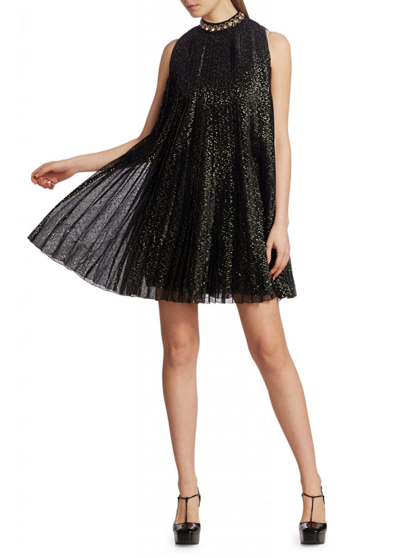 PRADA Chiffon Jewel-Neck Plissé Sleeveless Dress