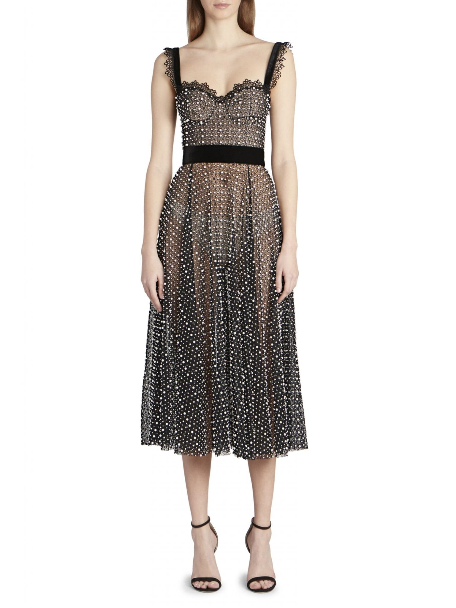 RALPH AND RUSSO Netted Faux-Pearl A-Line Midi Dress