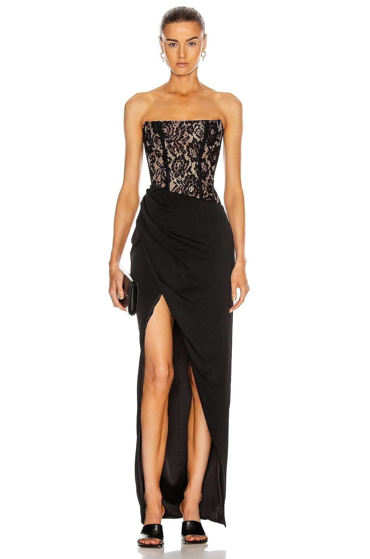 RASARIO Asymmetric Lace Corset Gown
