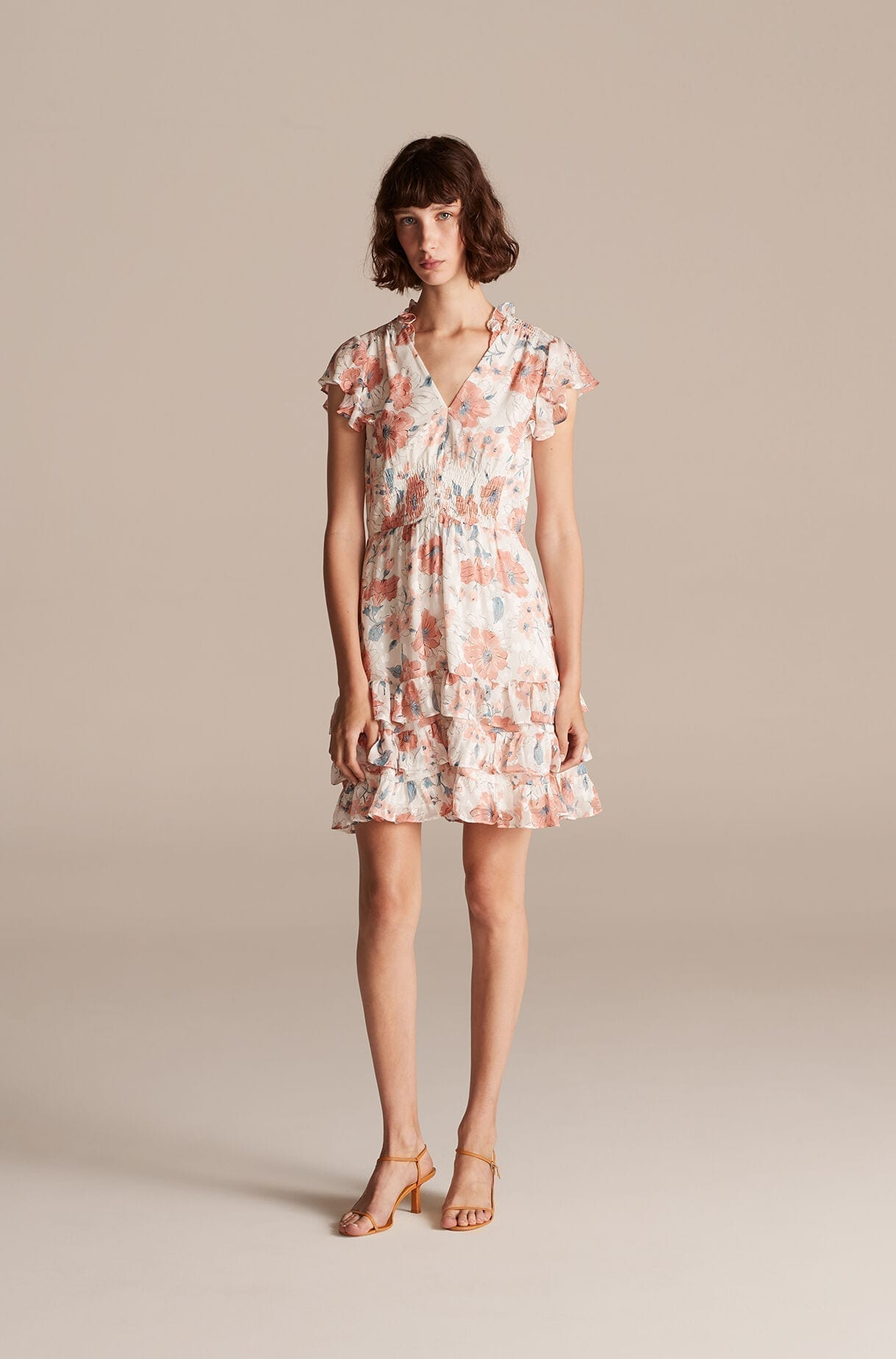 REBECCA TAYLOR Amelie Fleur V-neck Dress