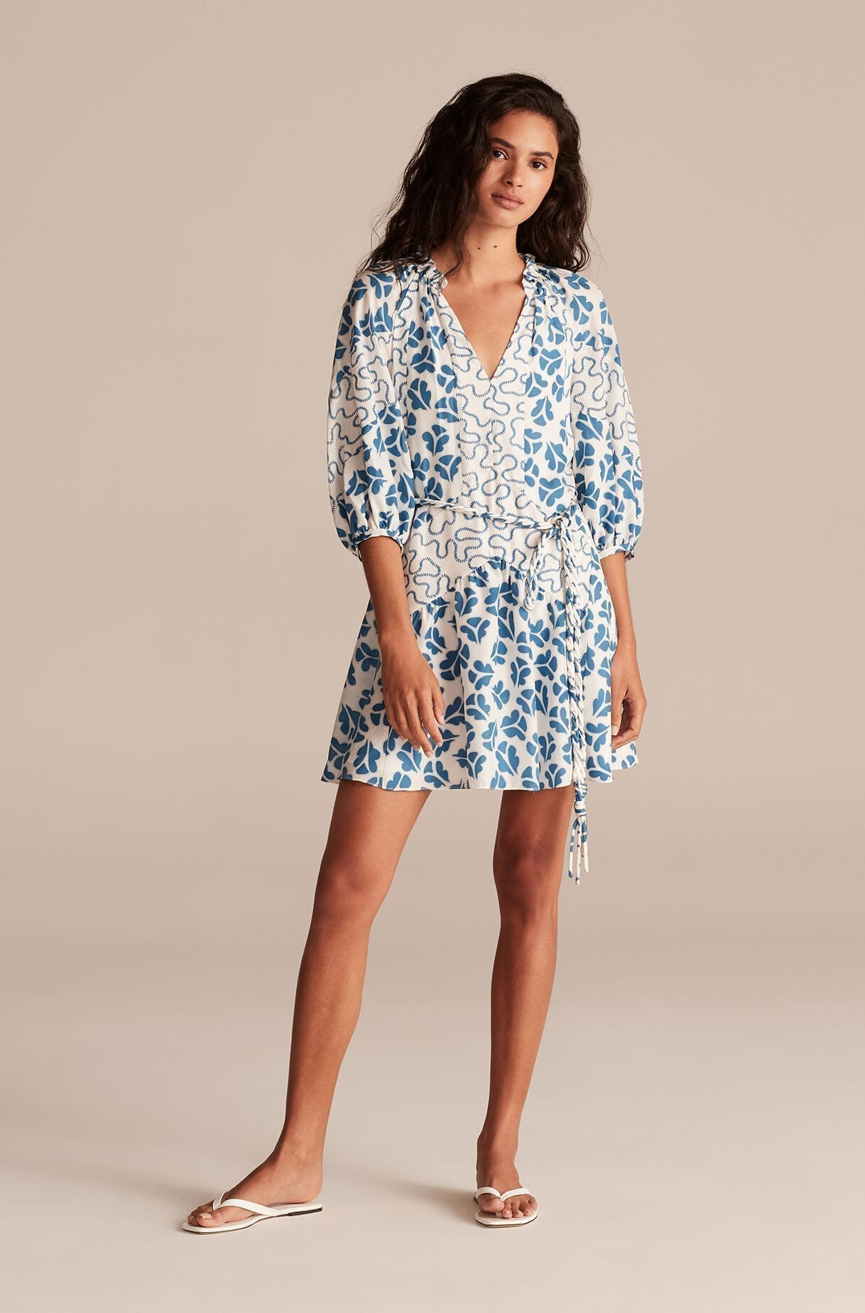 REBECCA TAYLOR Perla Petal Print Mix Short Dress