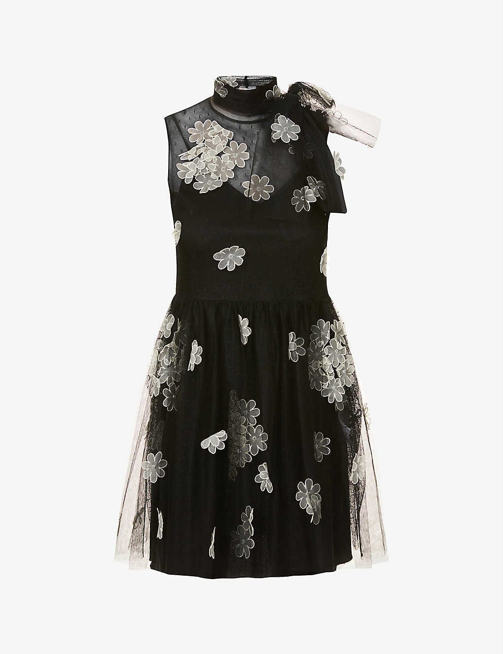 RED VALENTINO Floral-appliqué Tulle Mini Dress