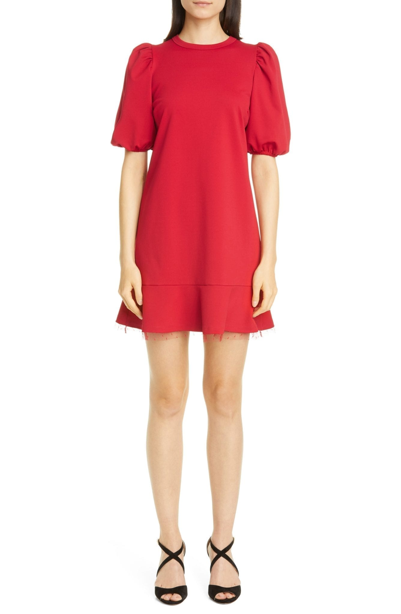 RED VALENTINO Puff Sleeve Ruffle Hem Mini Dress