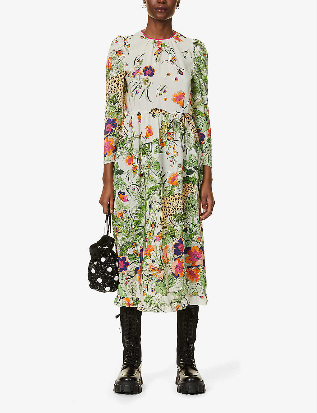RED VALENTINO Safari-print Silk Midi Dress