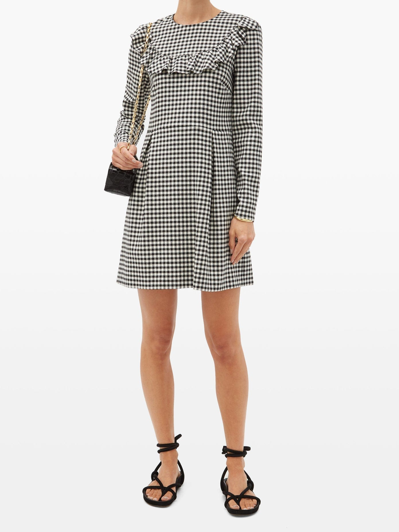 REDVALENTINO Gingham-check Jersey Mini Dress