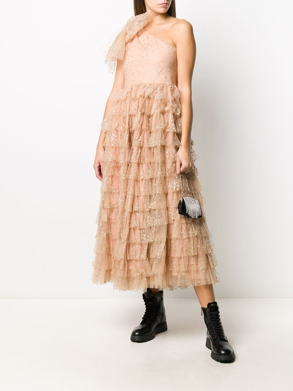 REDVALENTINO Glitter Heart Tiered Tulle Dress