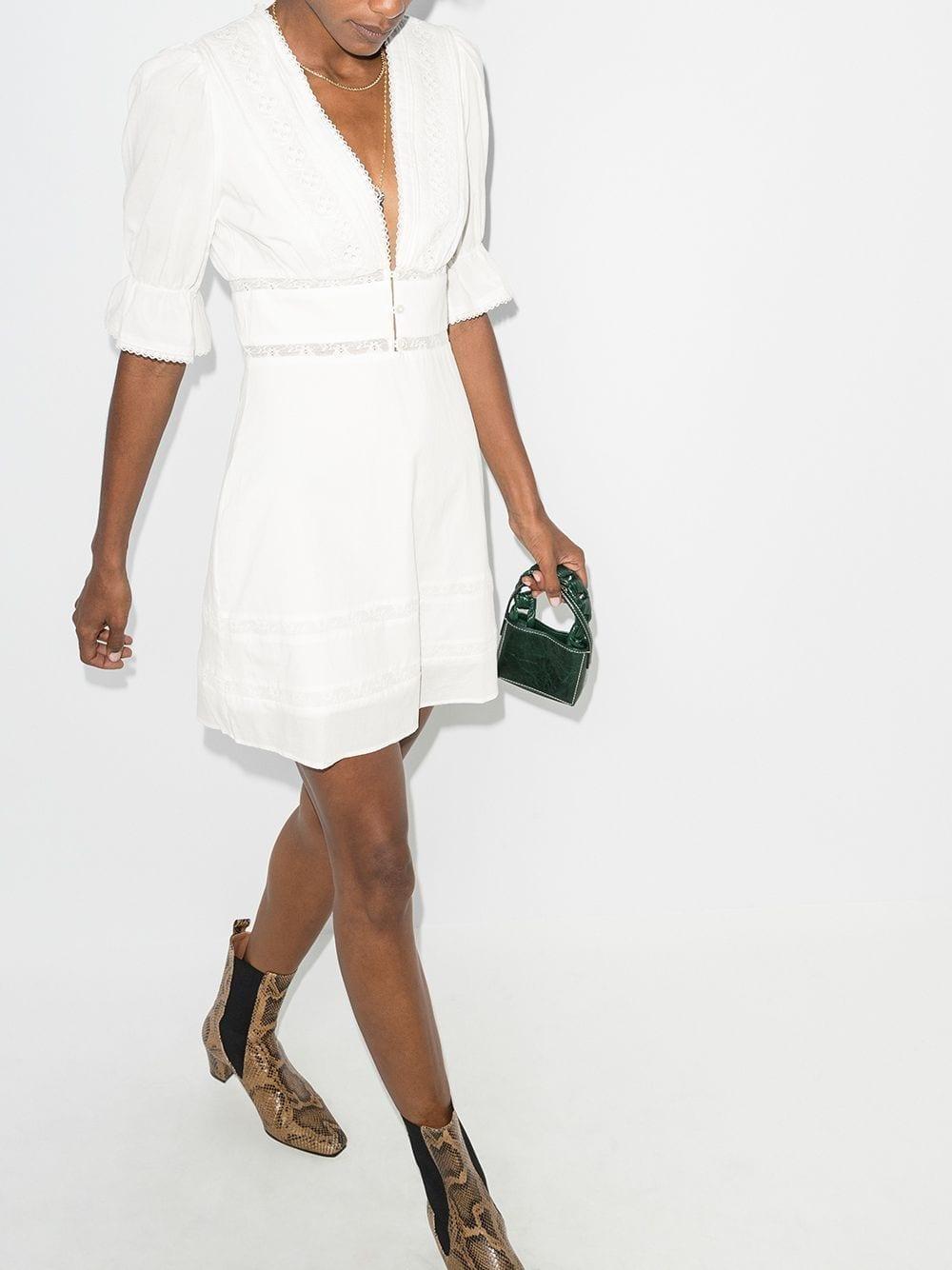 REFORMATION Cassatt Lace Trim Mini Dress