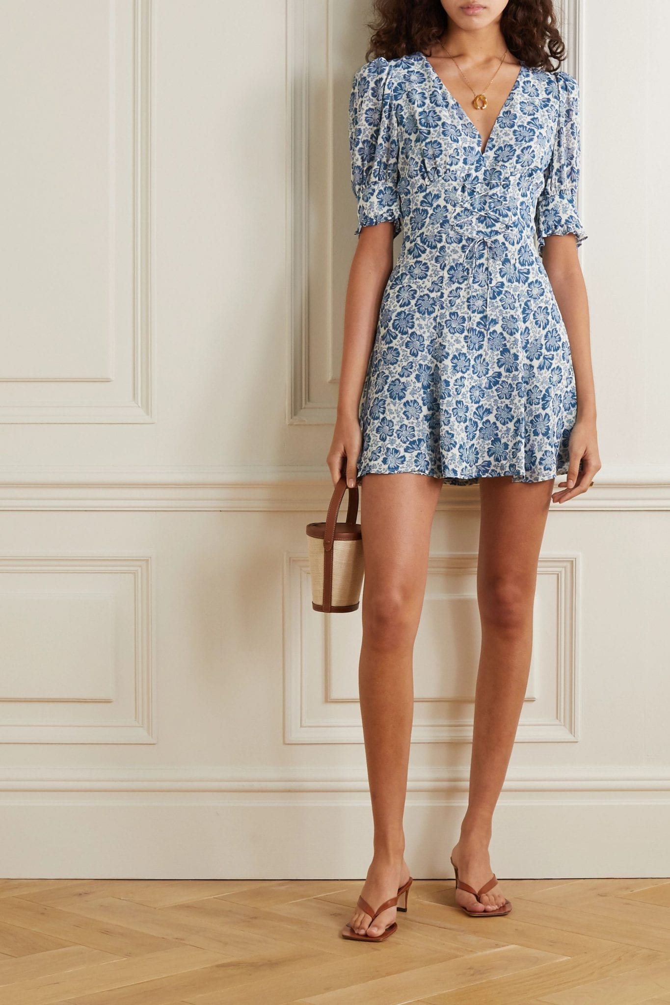 REFORMATION Steph Lace-up Floral-print Georgette Mini Dress