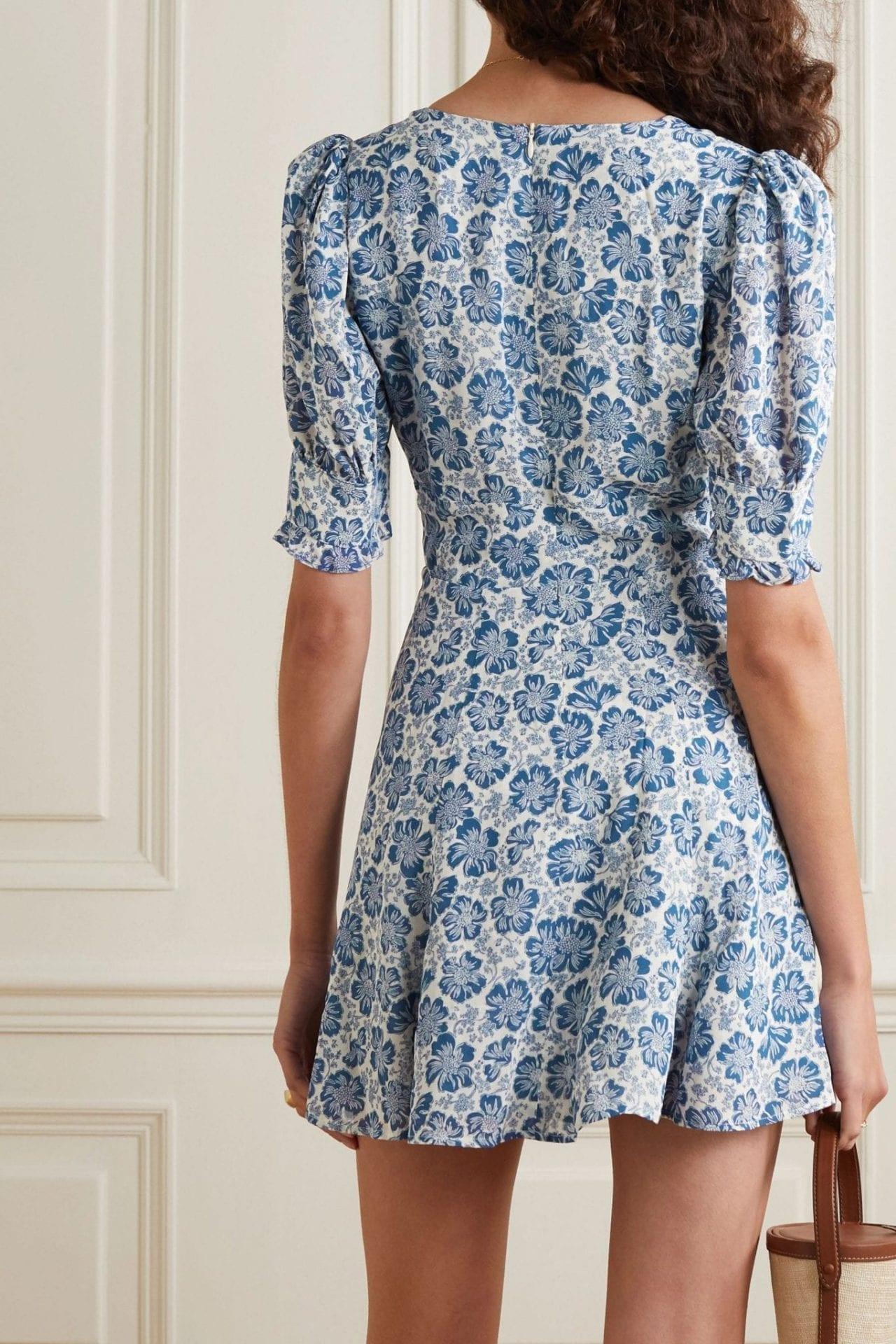 REFORMATION Steph Lace-up Floral-print Georgette Mini Dress