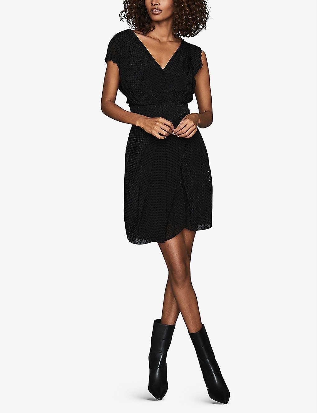 REISS Leonora Draped Woven Mini Dress