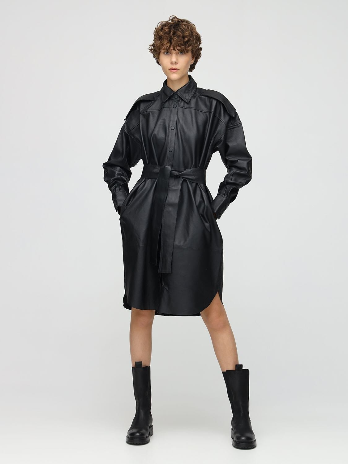 REMAIN Labare Leather Shirt Dress