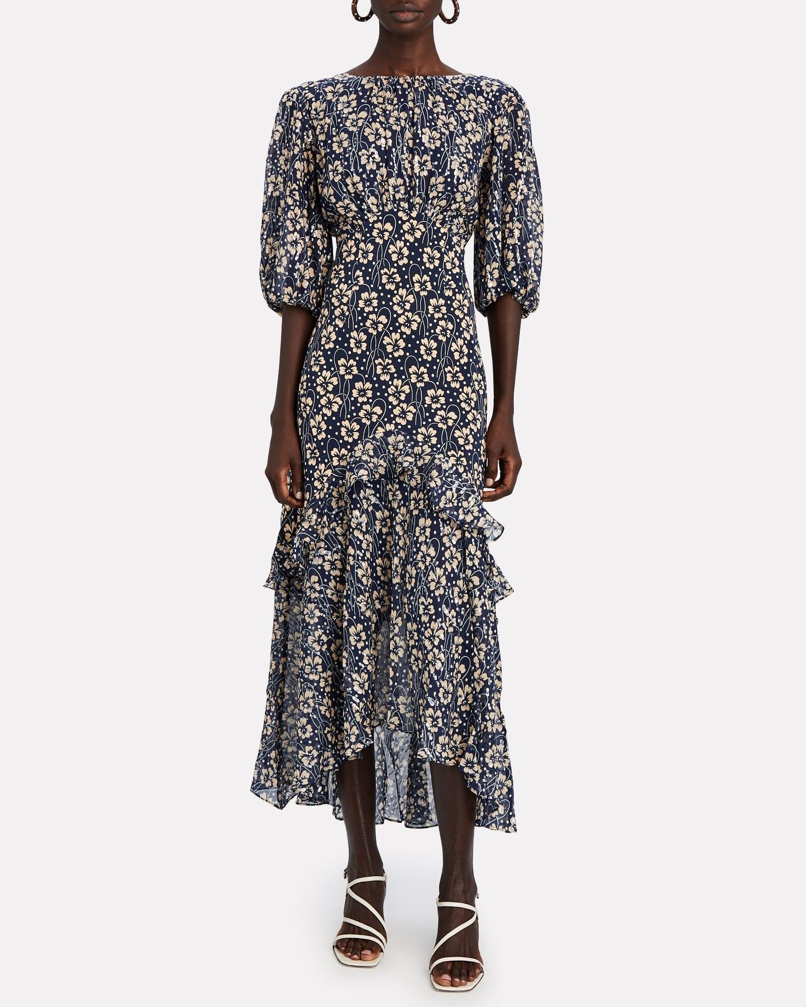 RIXO Cheryl Floral Silk Midi Dress