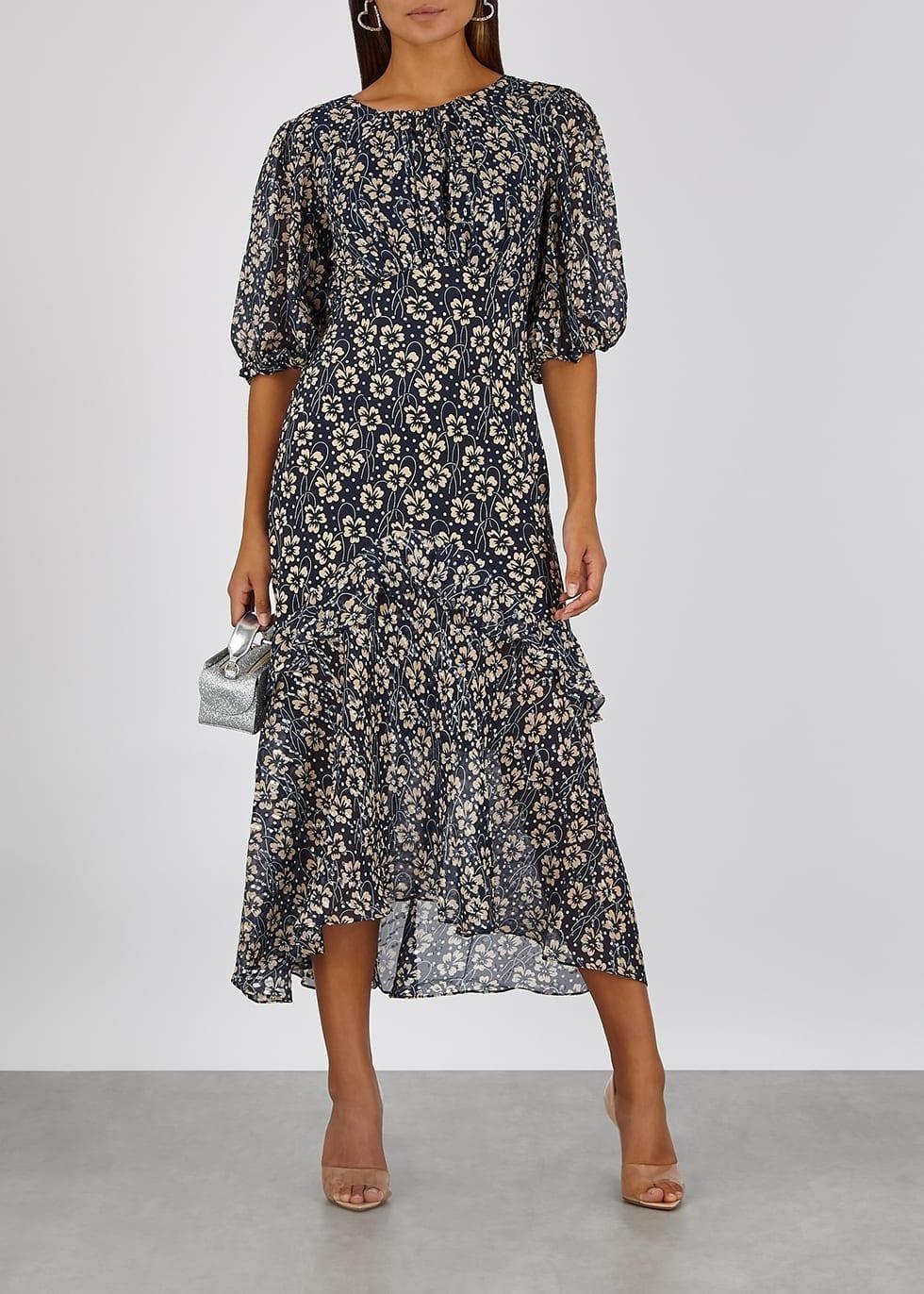 RIXO Cheryl Floral-print Silk Midi Dress