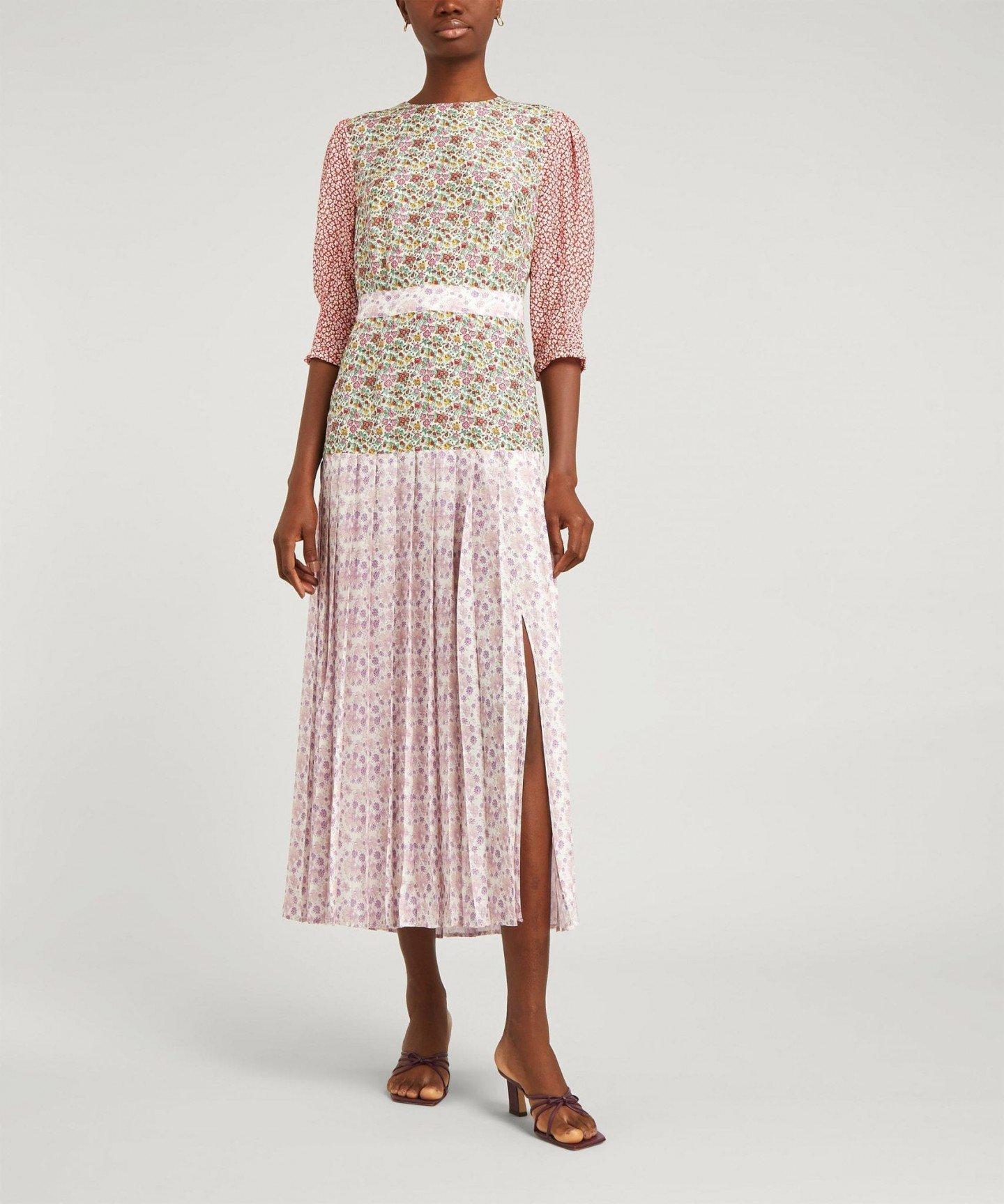 RIXO Cozi Pleated Dress