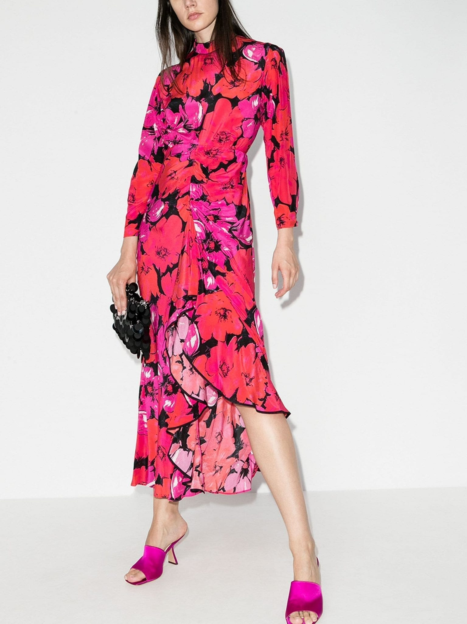 RIXO Dani Cutout Floral-Print Silk Dress