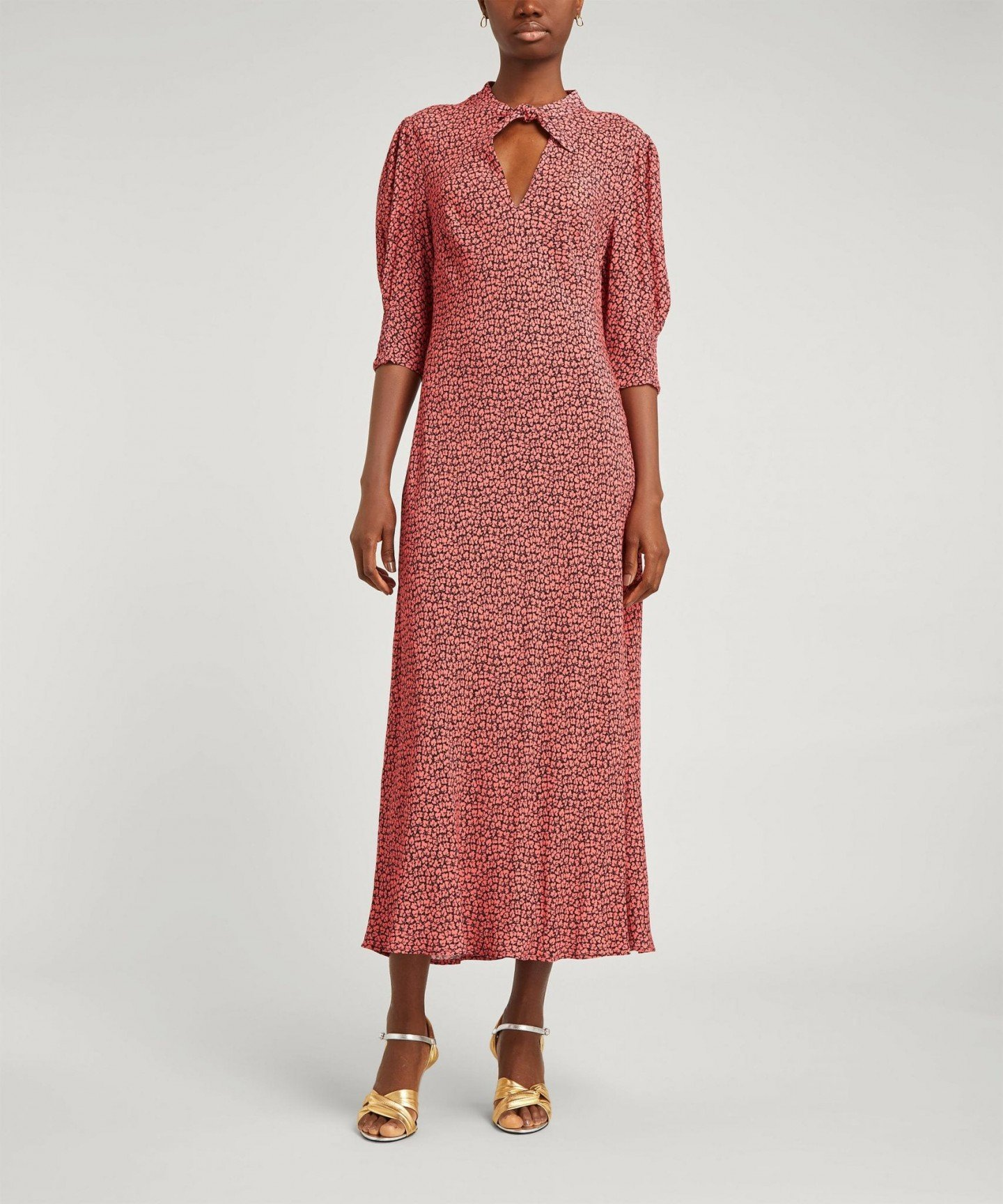 RIXO Isabella Tie-Neck Midi-Dress