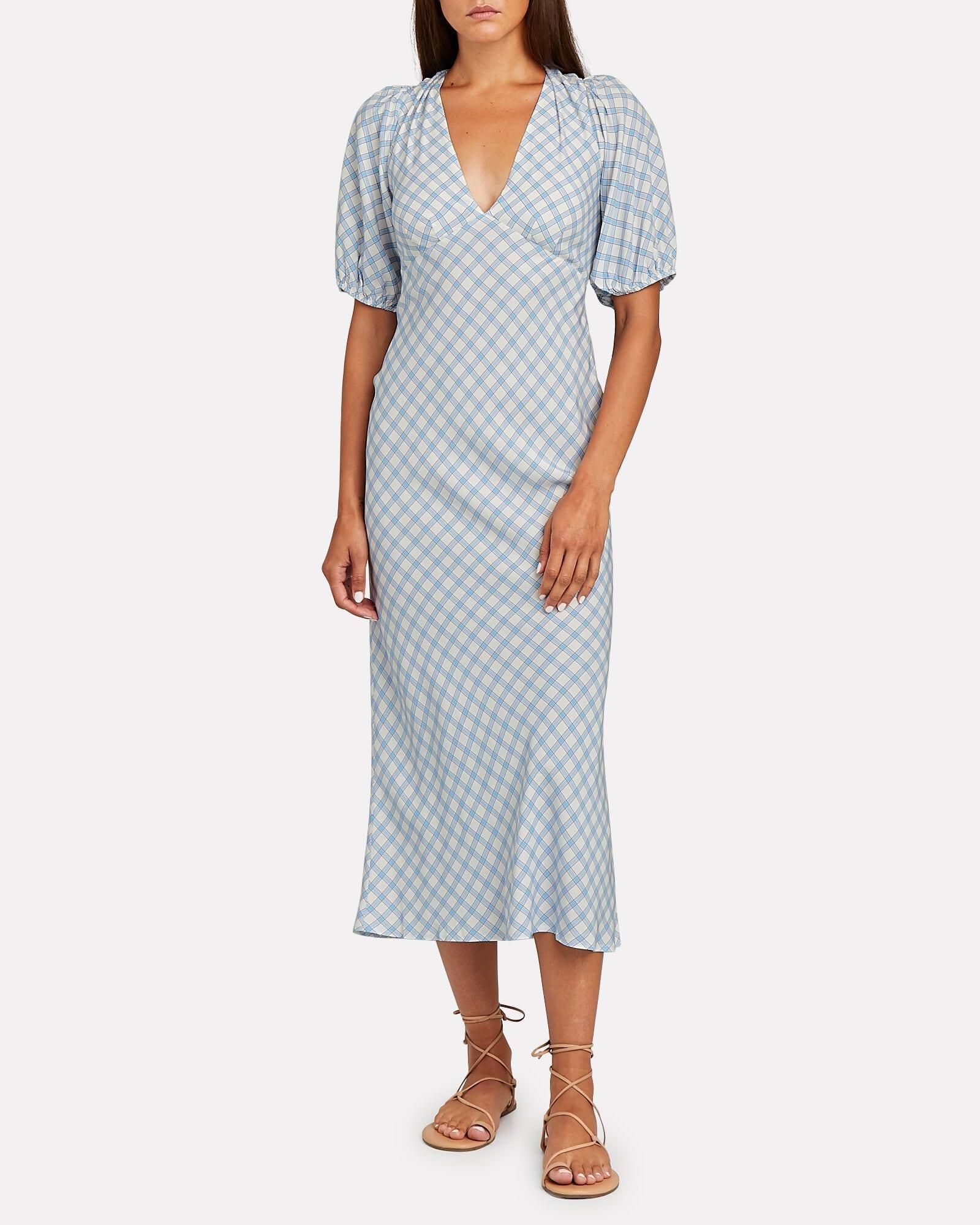 RIXO Steph Checked Crepe Midi Dress