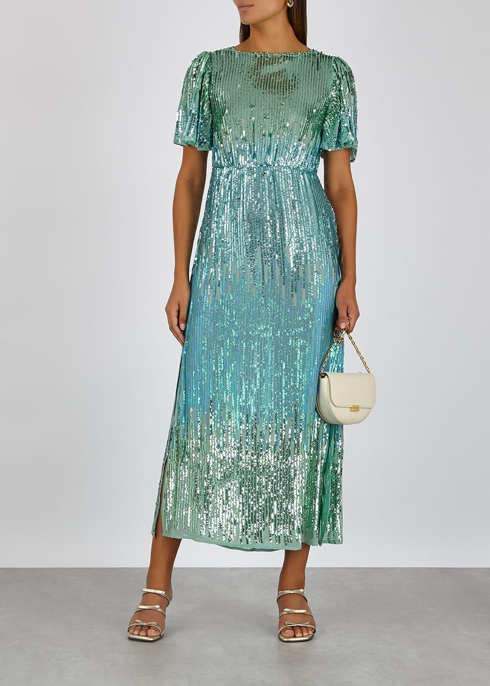 RIXO Venus Sequinned Chiffon Midi Dress