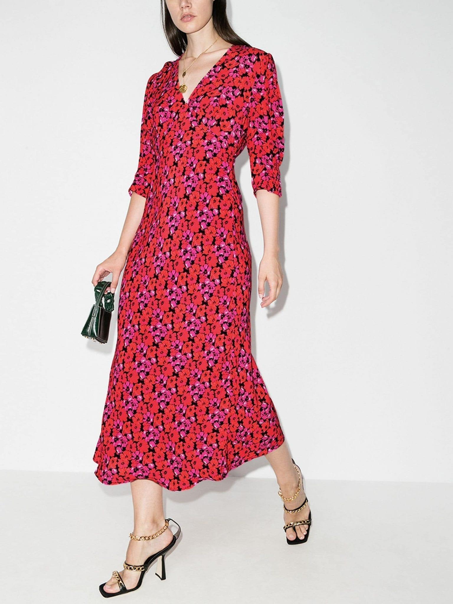 RIXO Zadie Floral Print Dress