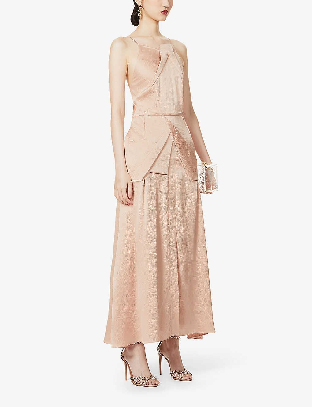 ROLAND MOURET Chora Asymmetric Silk Midi Dress