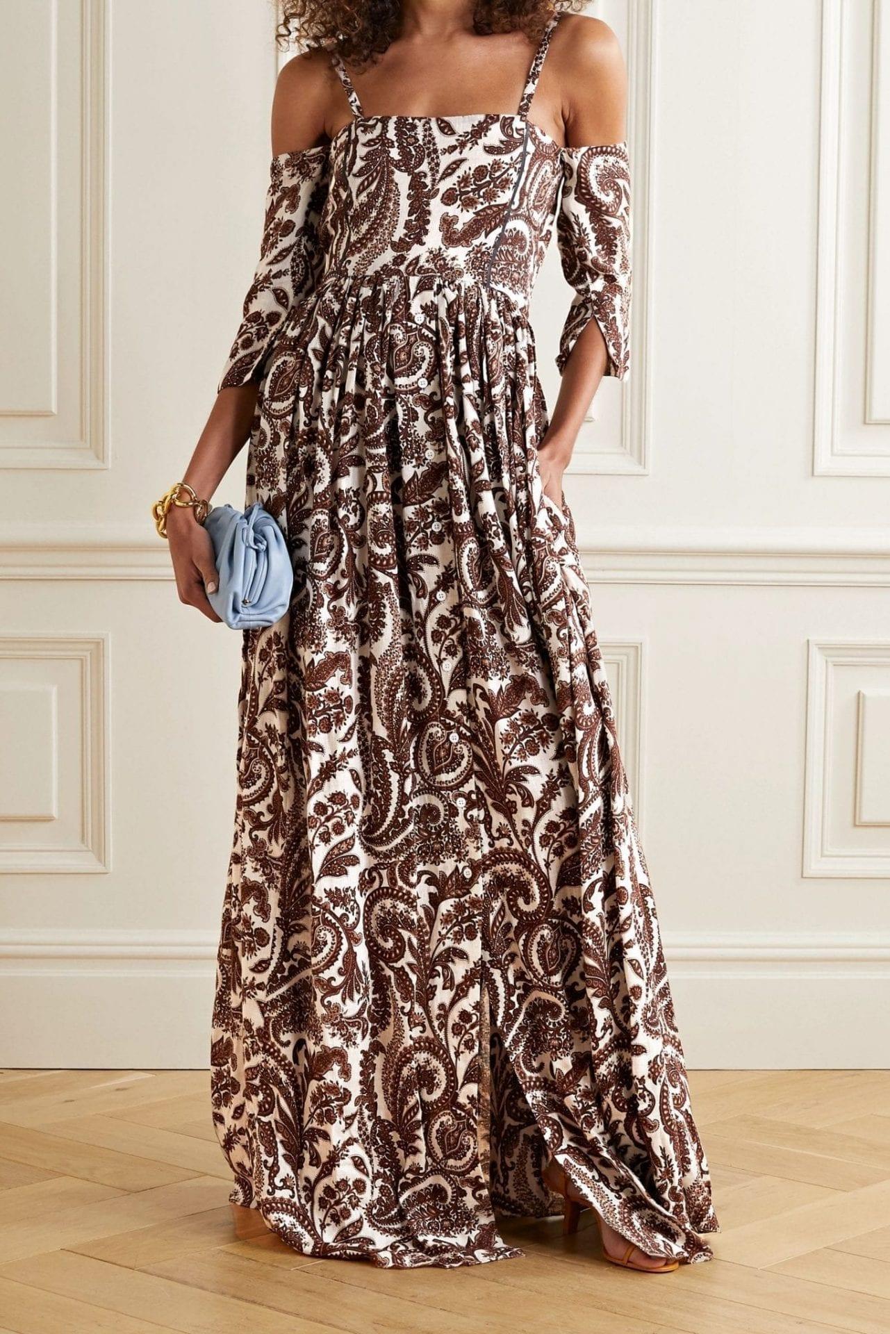 ROSIE ASSOULIN Cold-shoulder Paisley-print Linen Maxi Dress