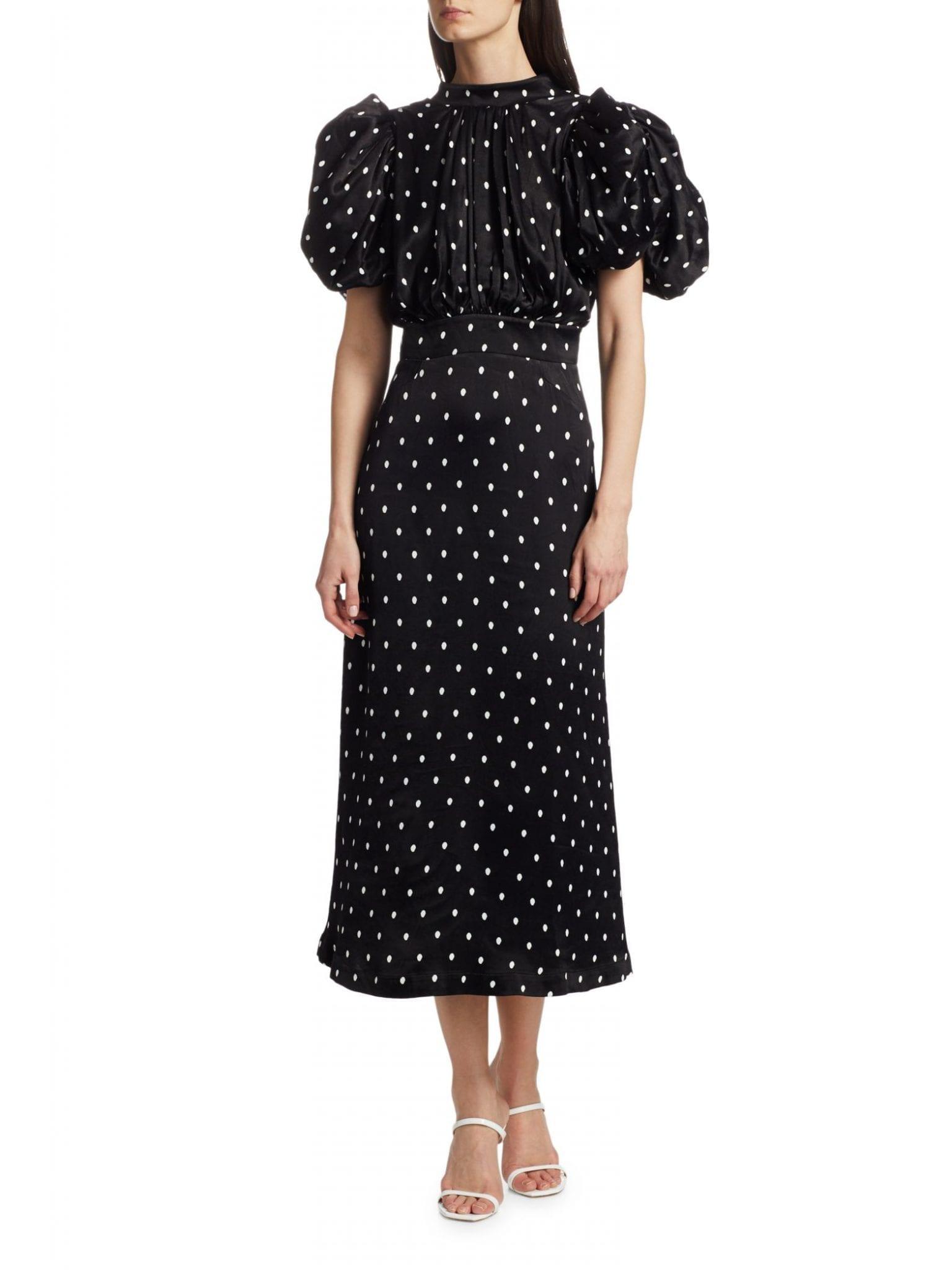 ROTATE BIRGER CHRISTENSEN Dawn High-Neck Polka Dot Midi Dress