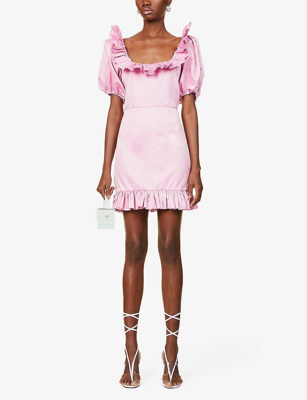ROTATE BIRGER CHRISTENSEN Ghita Short Puffed-sleeve Recycled Polyester Mini Dress