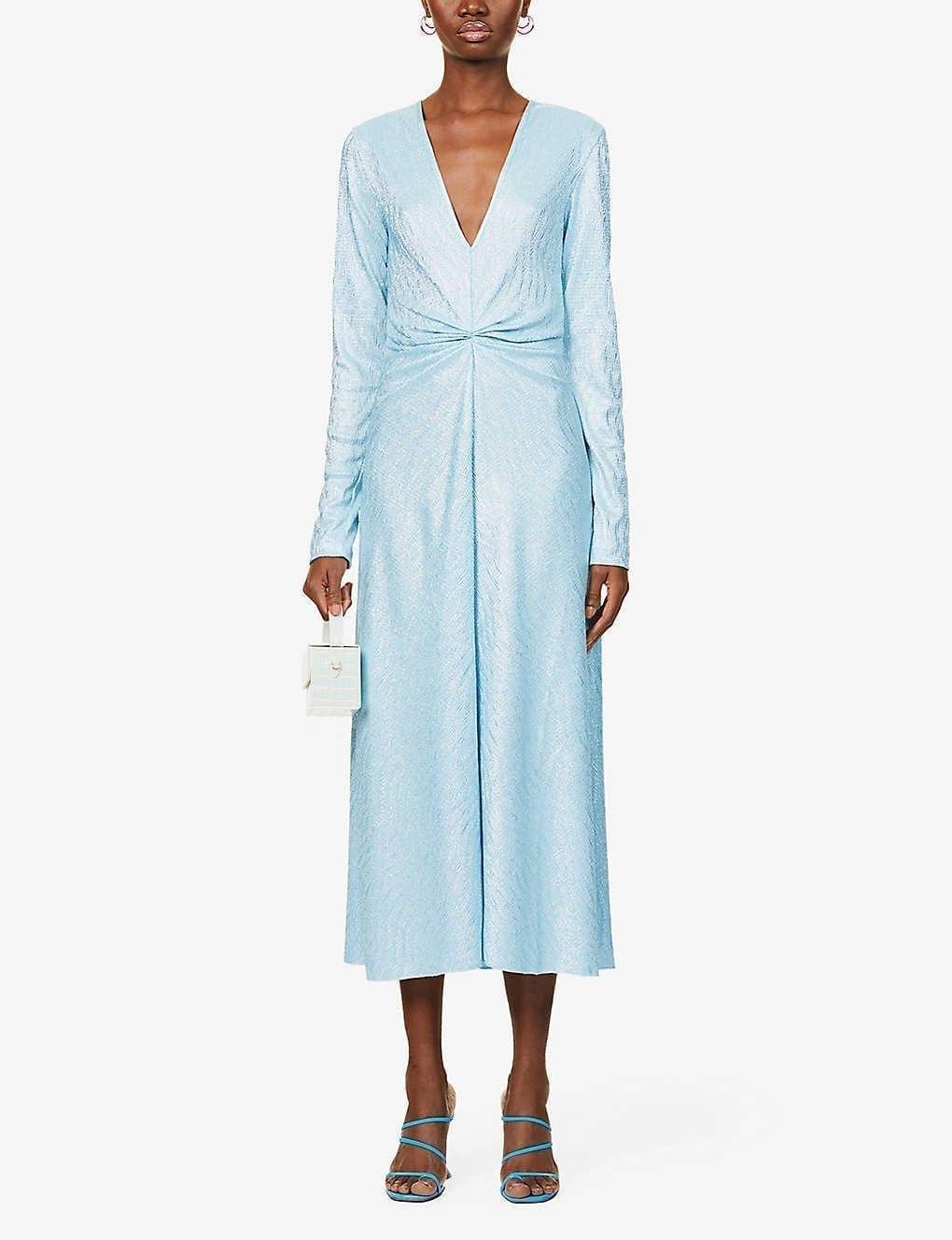 ROTATE BIRGER CHRISTENSEN Sierra V-neck Woven Midi Dress