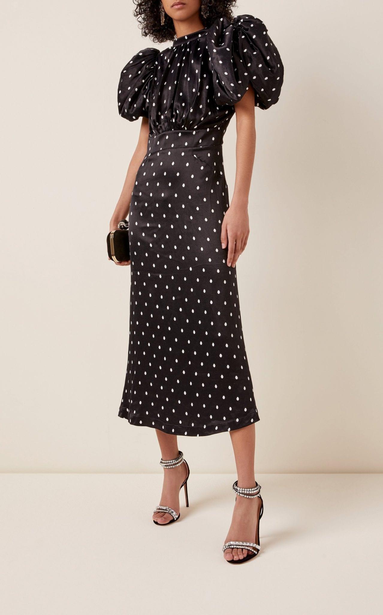 ROTATE Dawn Polka-Dot Satin Puff-Sleeve Midi Dress