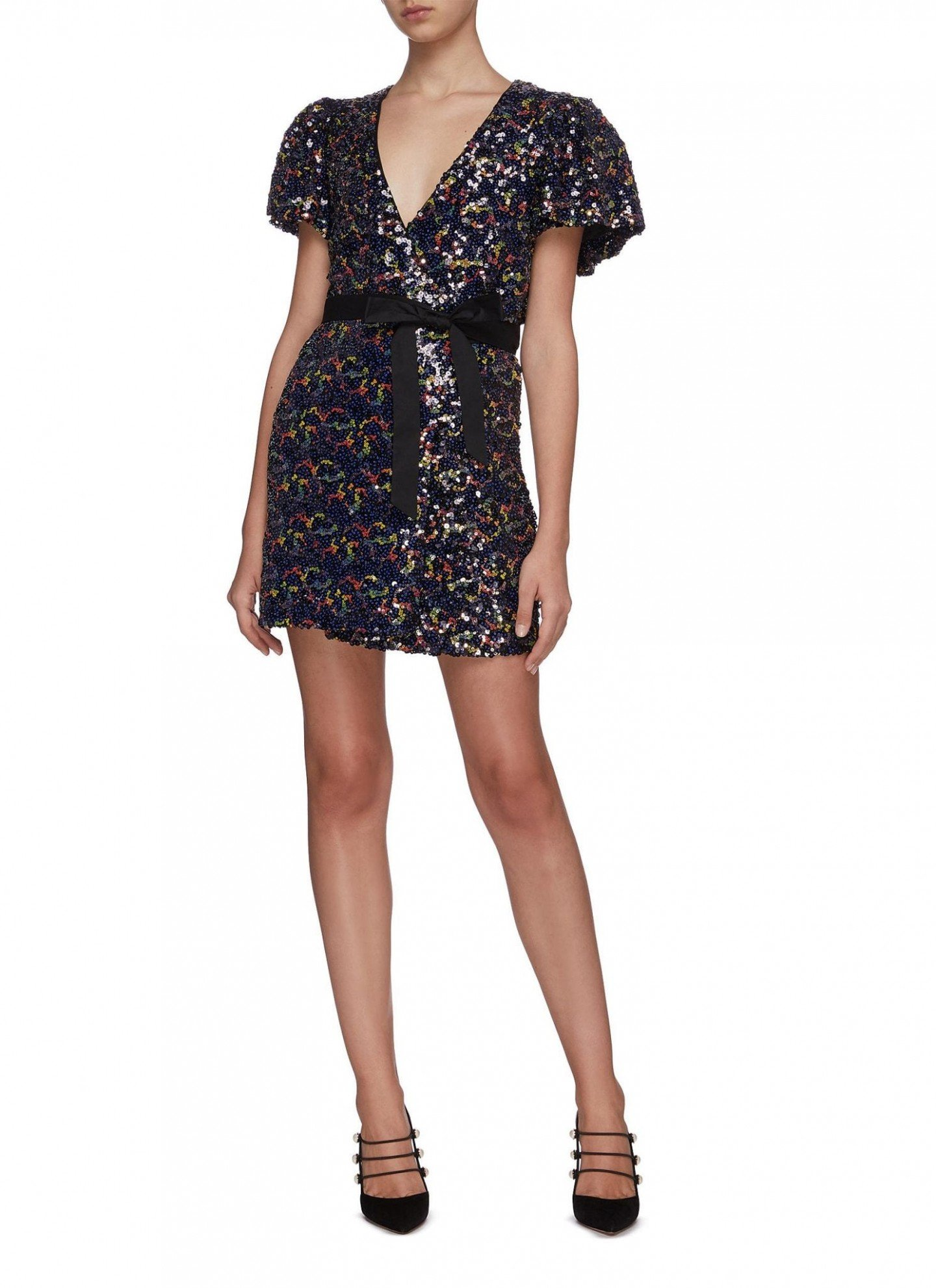ROTATE Frida Sequin Wrap Front Dress