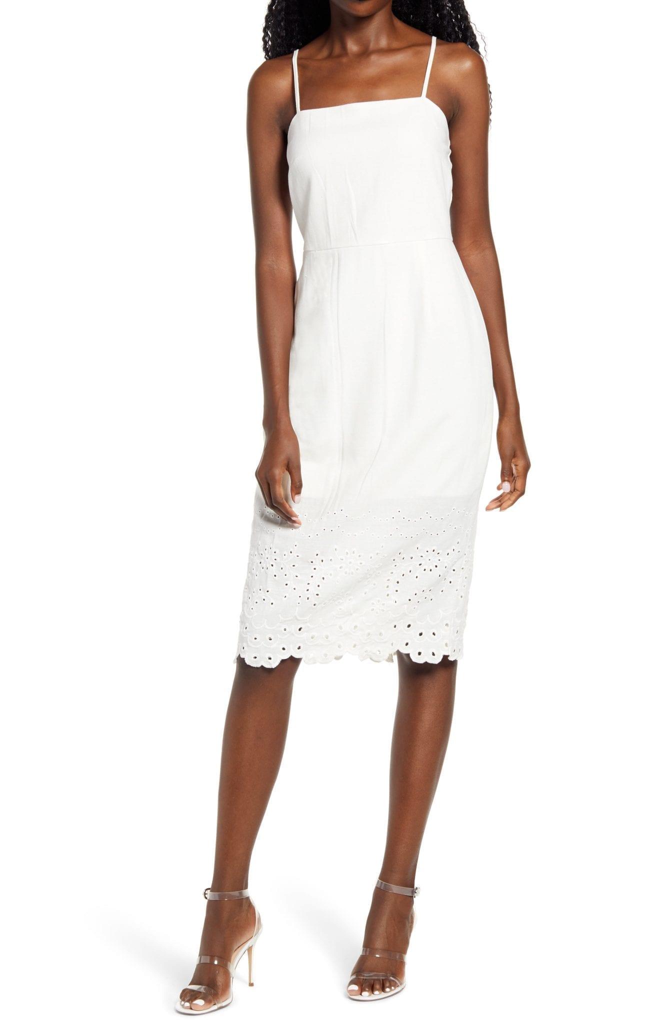 ROW A Sleeveless Embroidered Midi Dress