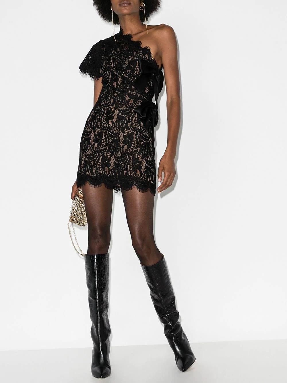 SAINT LAURENT Black Asymmetric Lace Dress