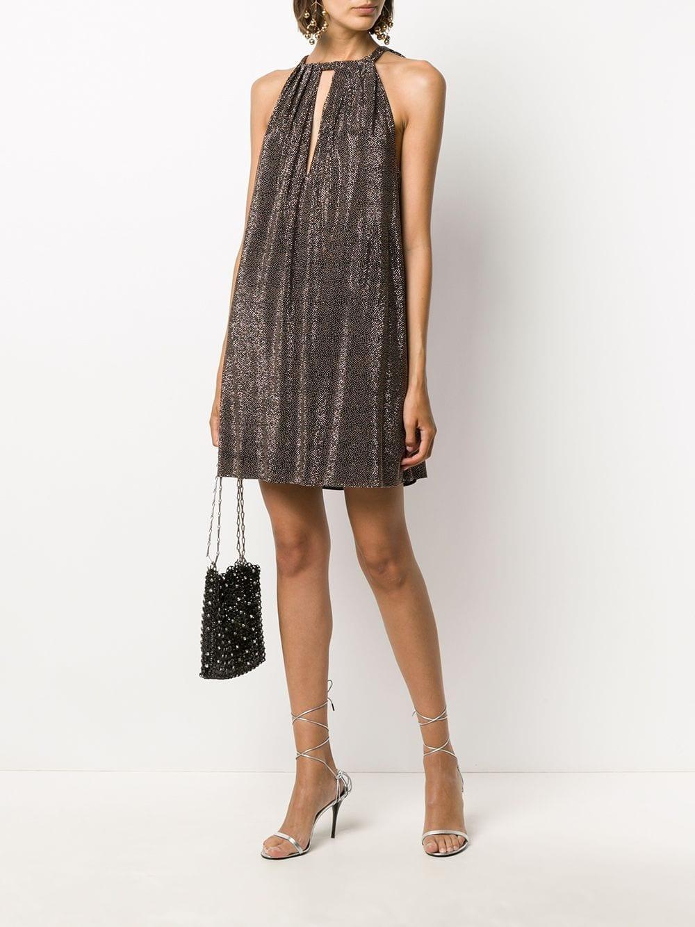 SAINT LAURENT Studded Halterneck Mini Dress