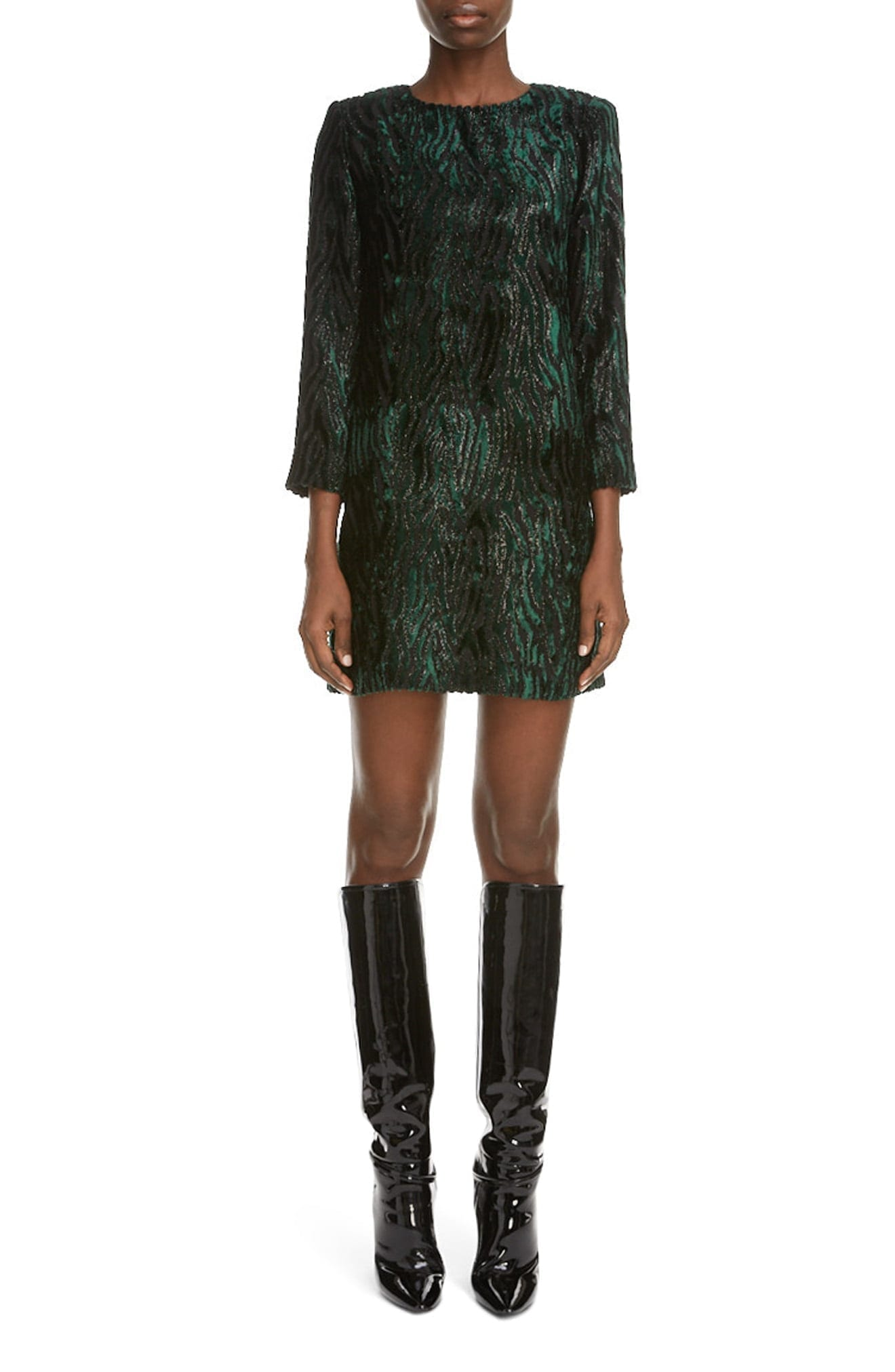 SAINT LAURENT Tinsel Tiger Stripe Mini Dress