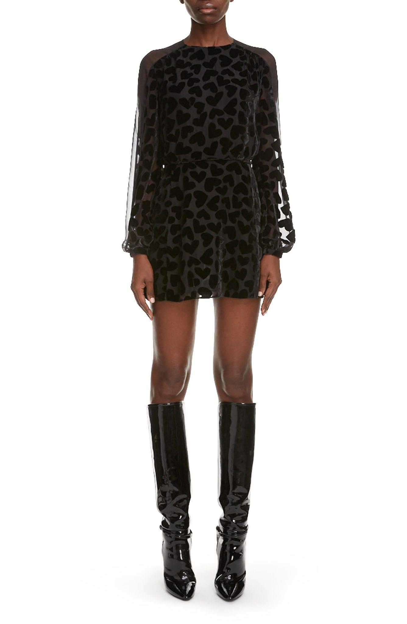 SAINT LAURENT Velvet Heart Burnout Long Sleeve Mini Dress
