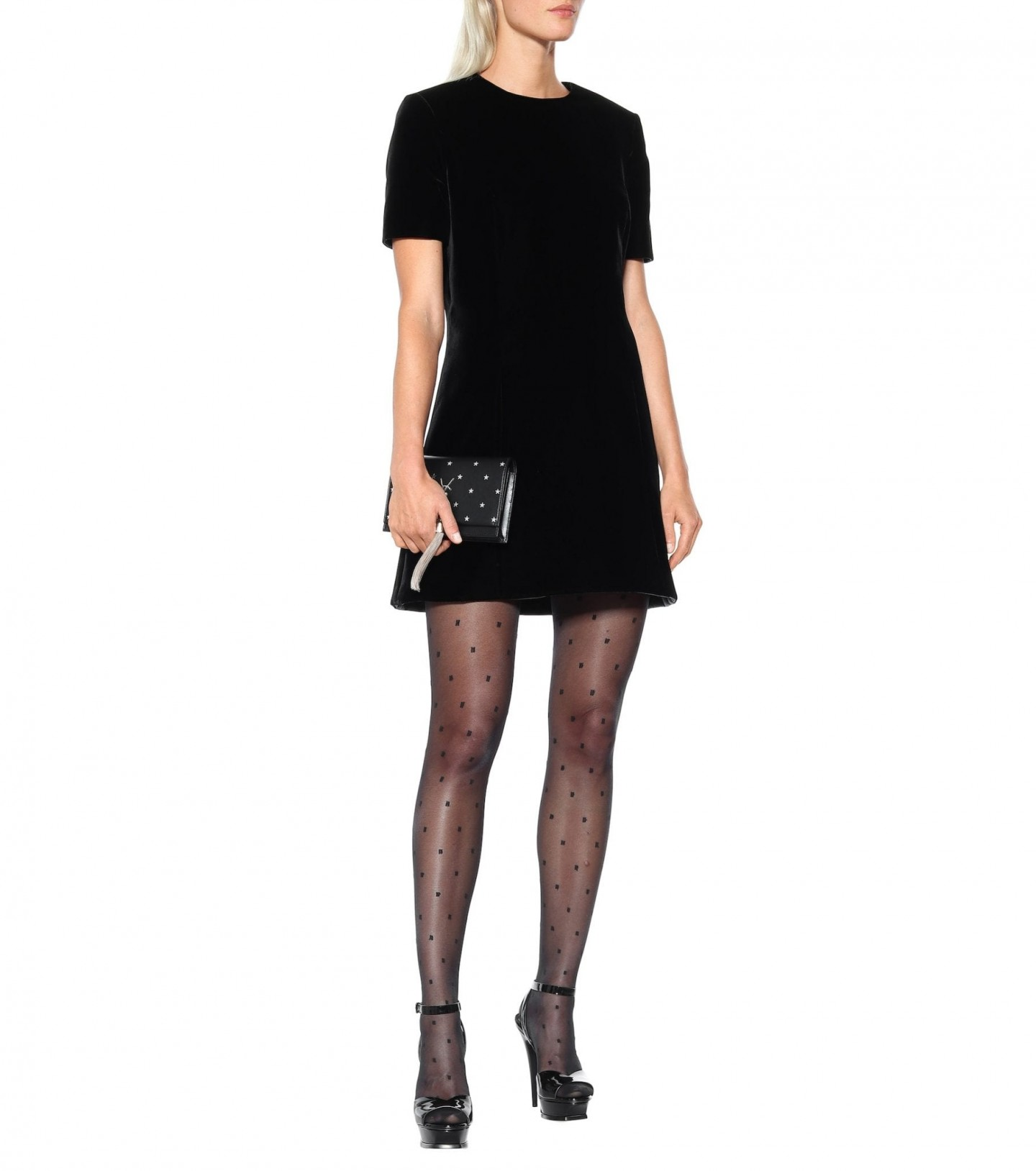 SAINT LAURENT Velvet Mini Dress