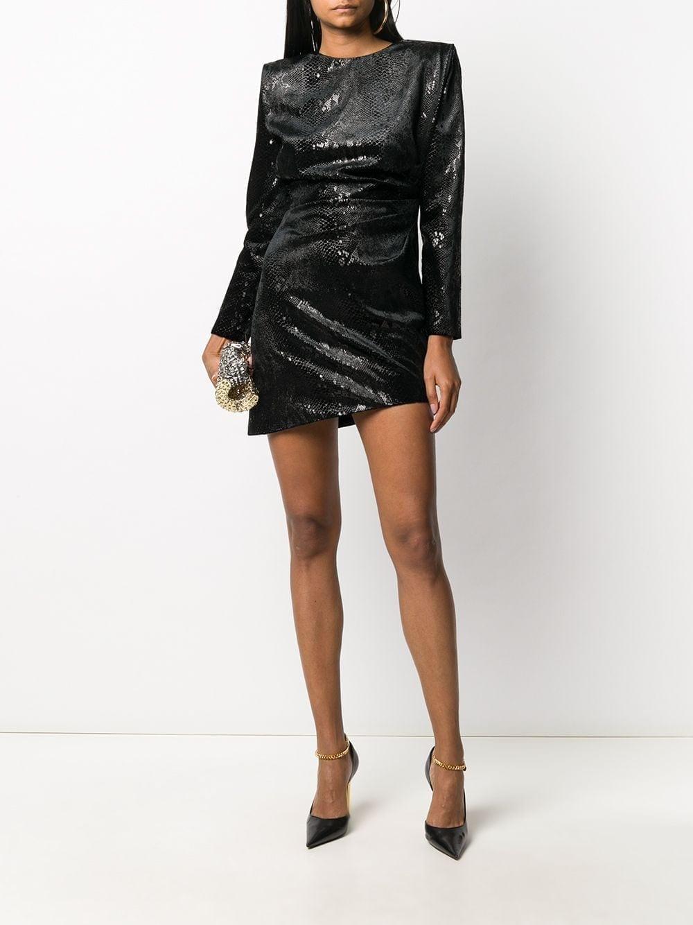 SAINT LAURENT Velvet Snakeskin-effect Mini Dress