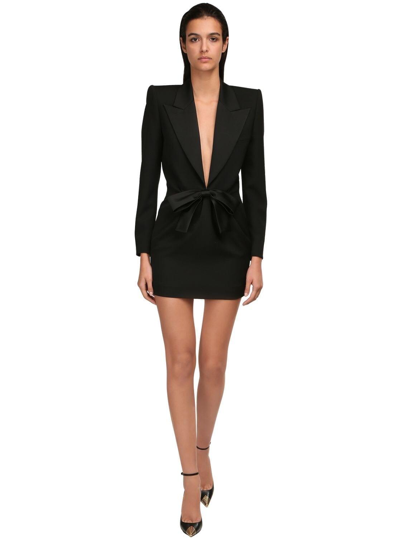 SAINT LAURENT Wool Grain De Poudre Mini Dress