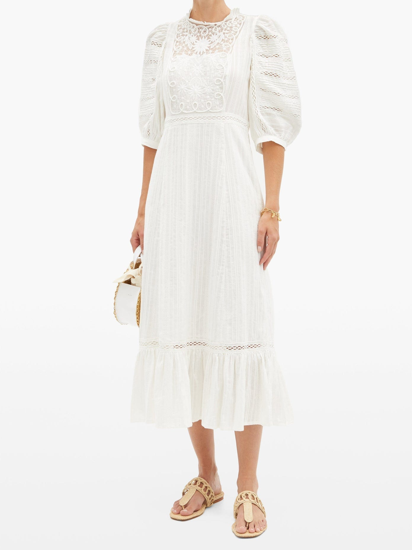 SEA Ona Embroidered Cotton-voile Dress