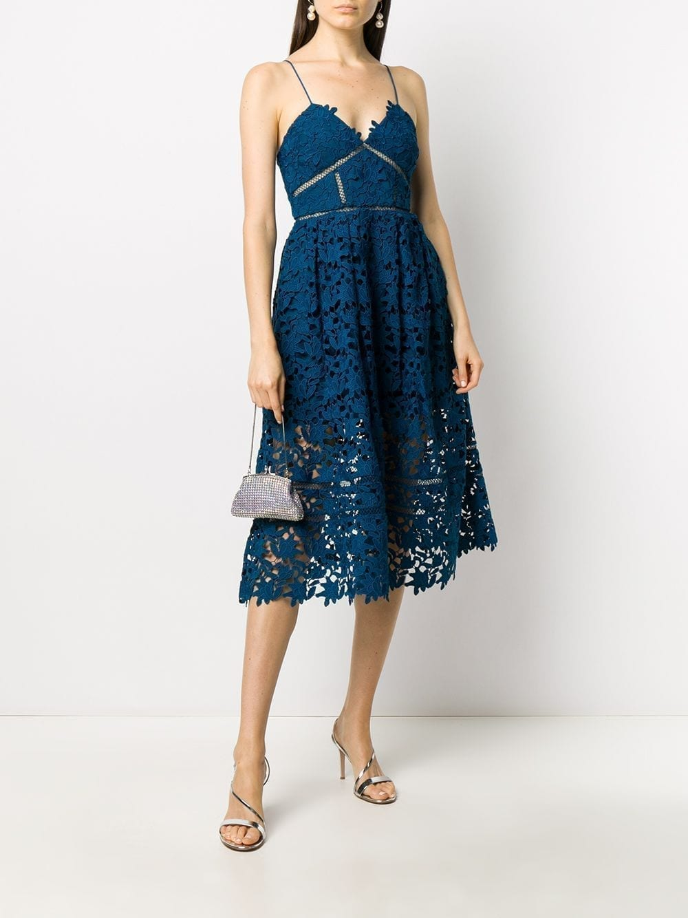 SELF-PORTRAIT Floral Lace Midi Dress