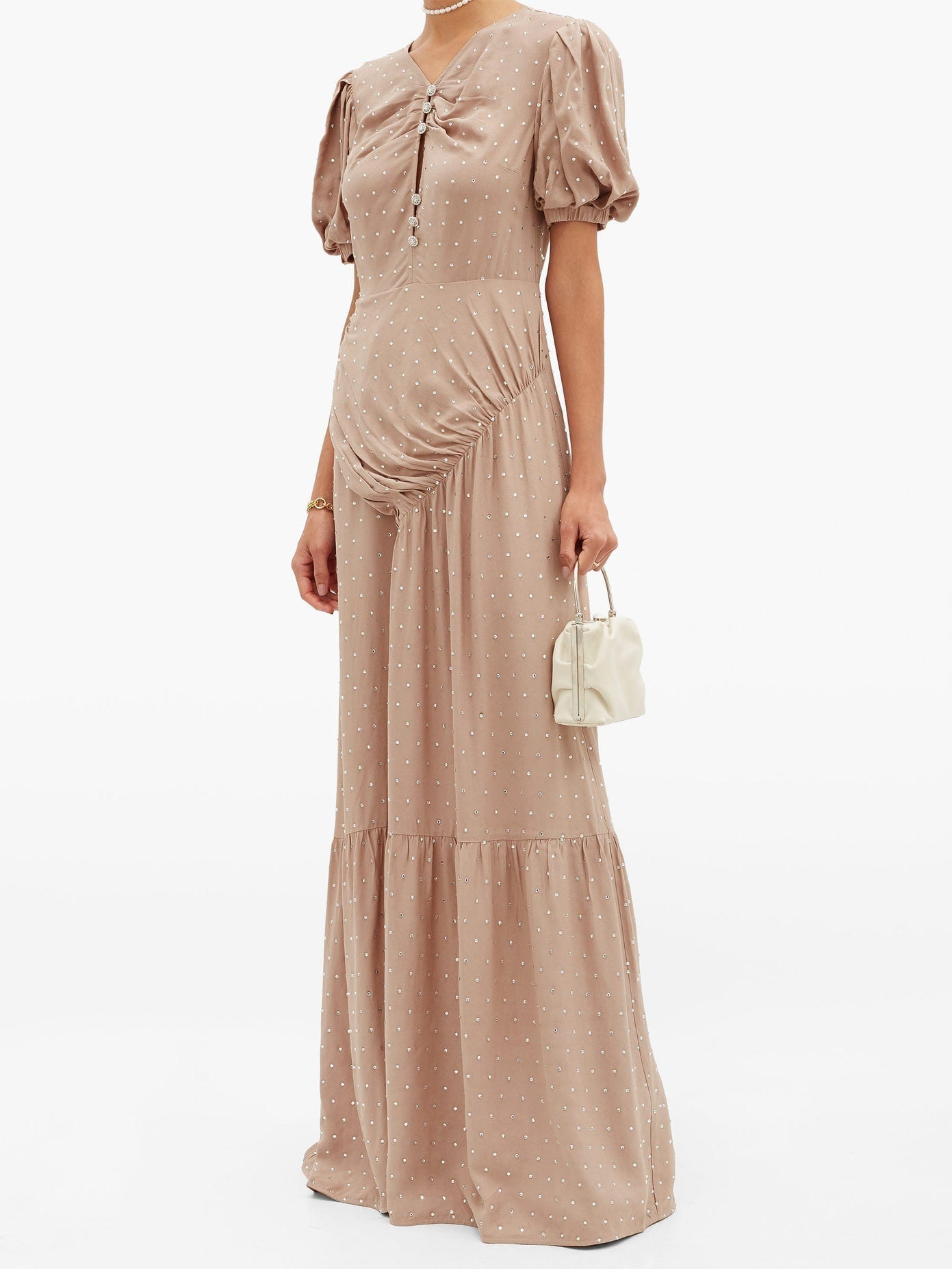 SELF-PORTRAIT Gathered Crystal-embellished Crepe Maxi Dress