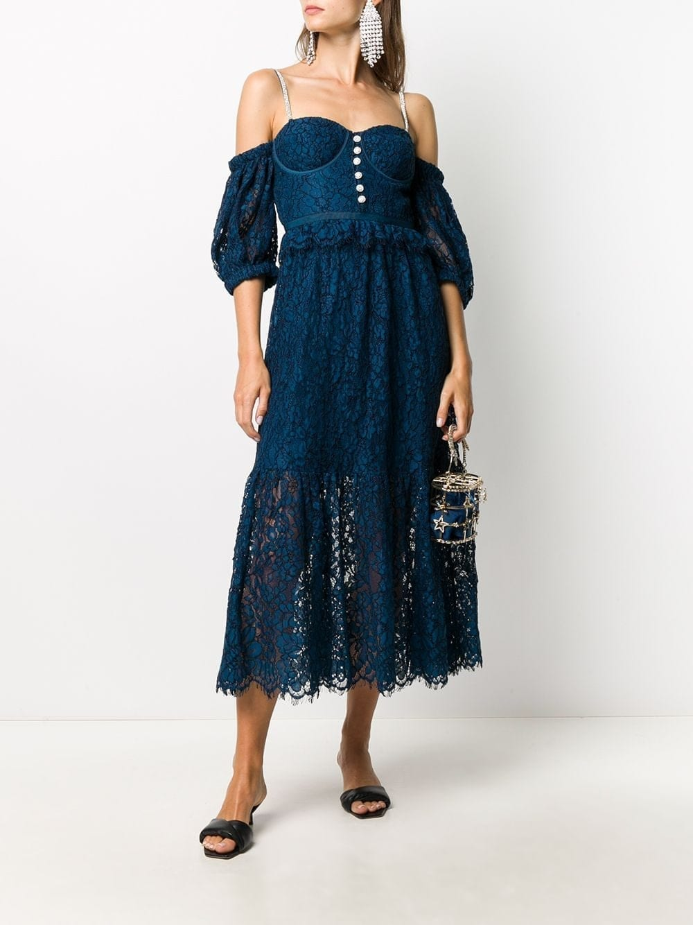 SELF-PORTRAIT Lace Off-shoulder Flared Dress