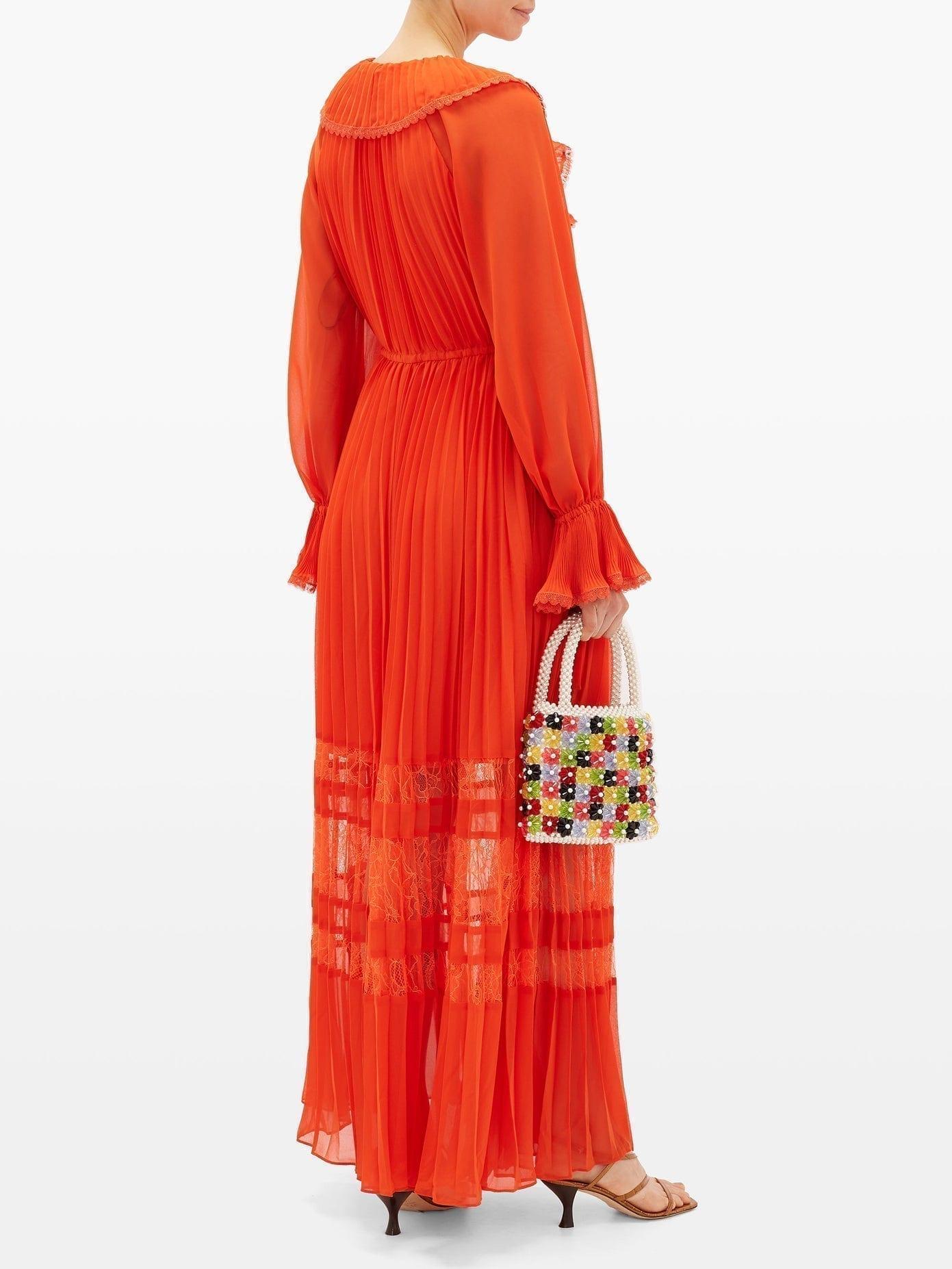 SELF-PORTRAIT Lace-trimmed Pleated Chiffon Dress