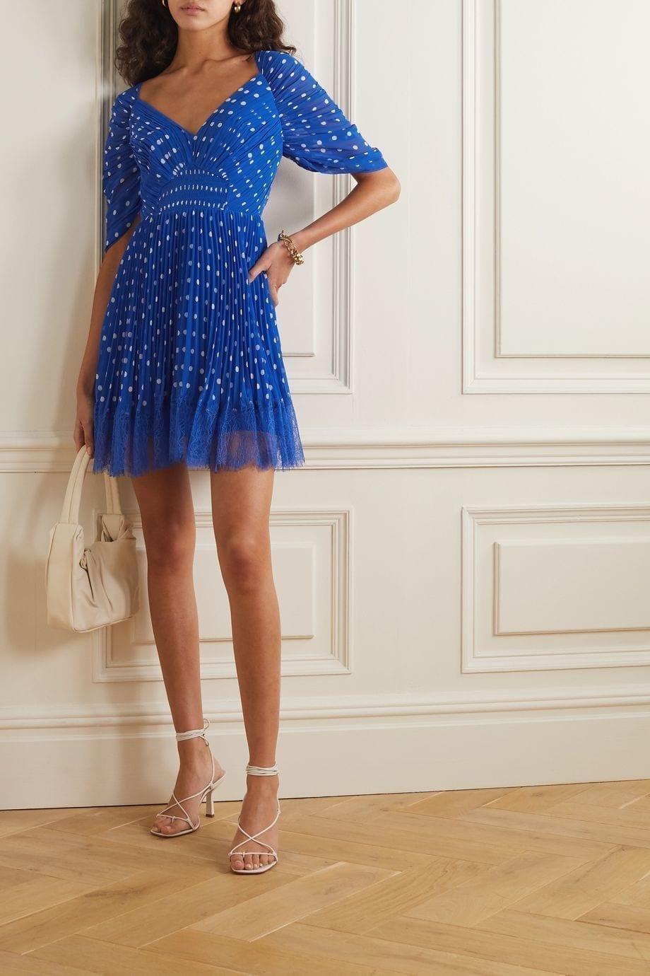 SELF-PORTRAIT Lace-trimmed Pleated Polka-dot Chiffon Mini Dress