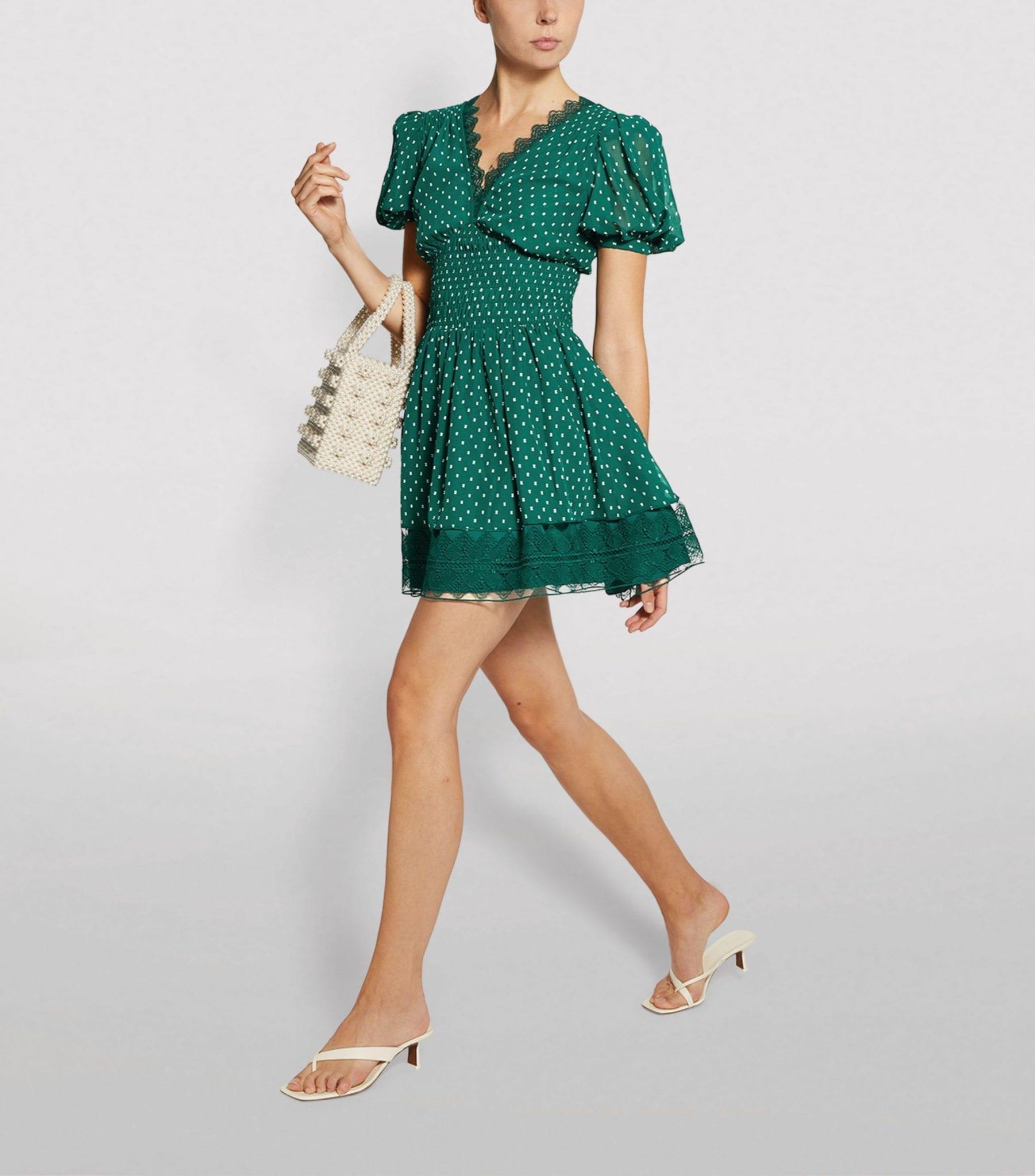 SELF-PORTRAIT Polka-Dot Puff-Sleeved Mini Dress