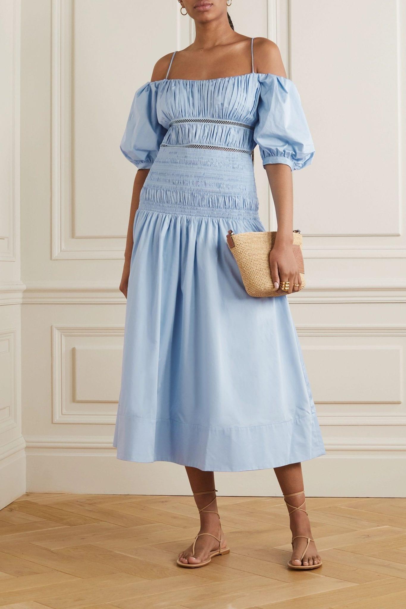 SELF-PORTRAIT Shirred Crochet-trimmed Cotton-poplin Midi Dress