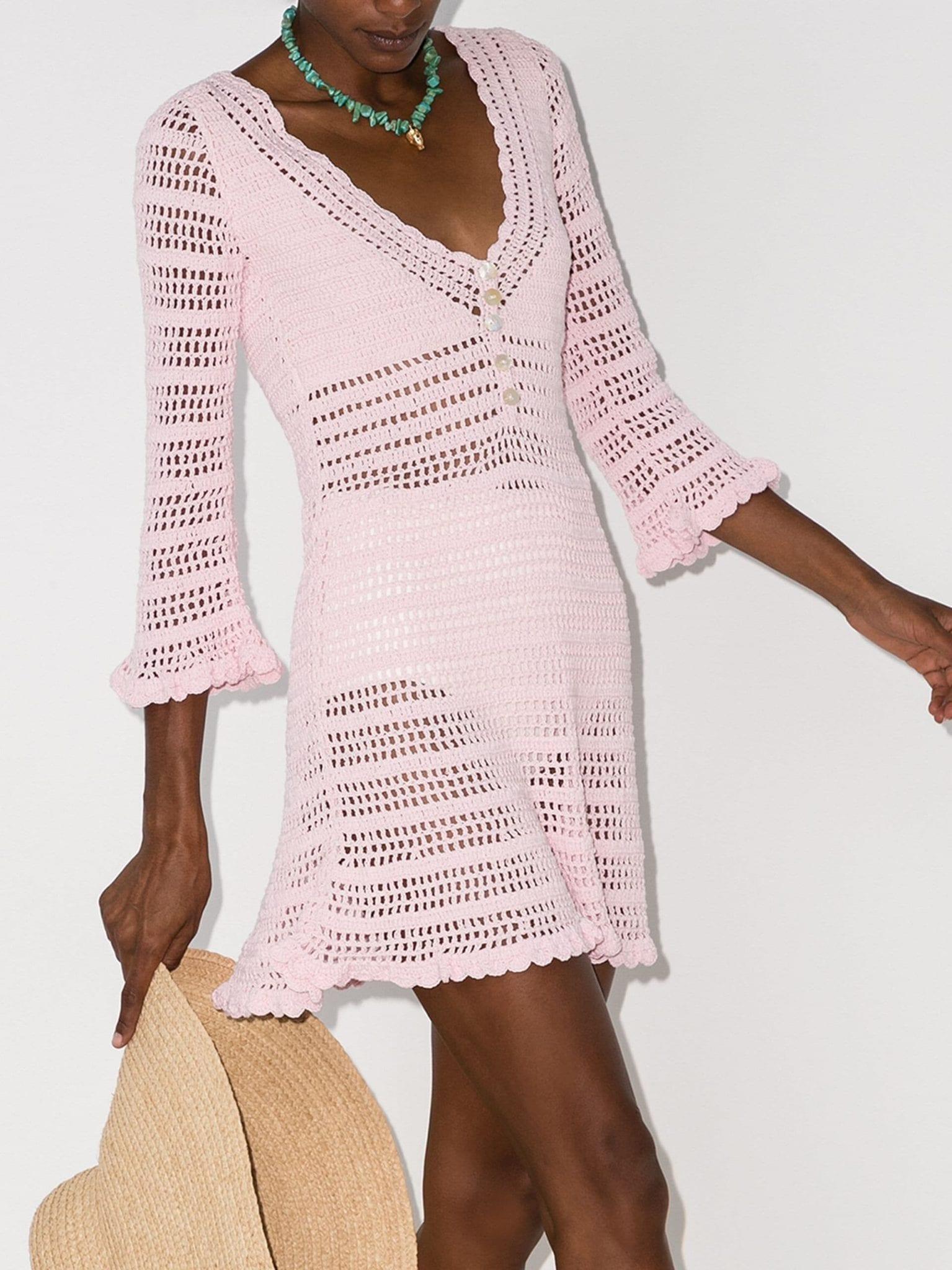 SHE MADE ME Neha Ruffled Crochet-Knit Dress