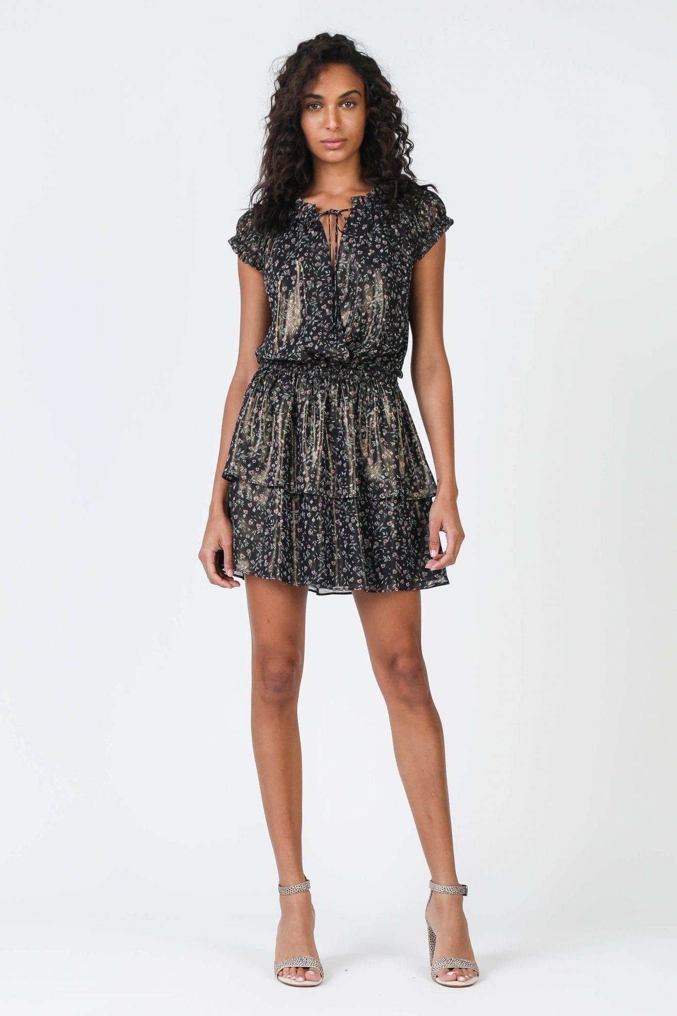 SHOPCURRENTAIR Metallic Ditsy Floral Mini Dress